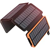 ADDTOP Solar Charger 25000mAh Portable Solar Power Bank with Dual 2.1A Outputs Outdoor External Battery Pack Compatible…