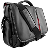 Laptop Bag, Snugg8482; Crossbody Shoulder Messenger Bag in Black Leather - Fits Laptops up to 15.6""