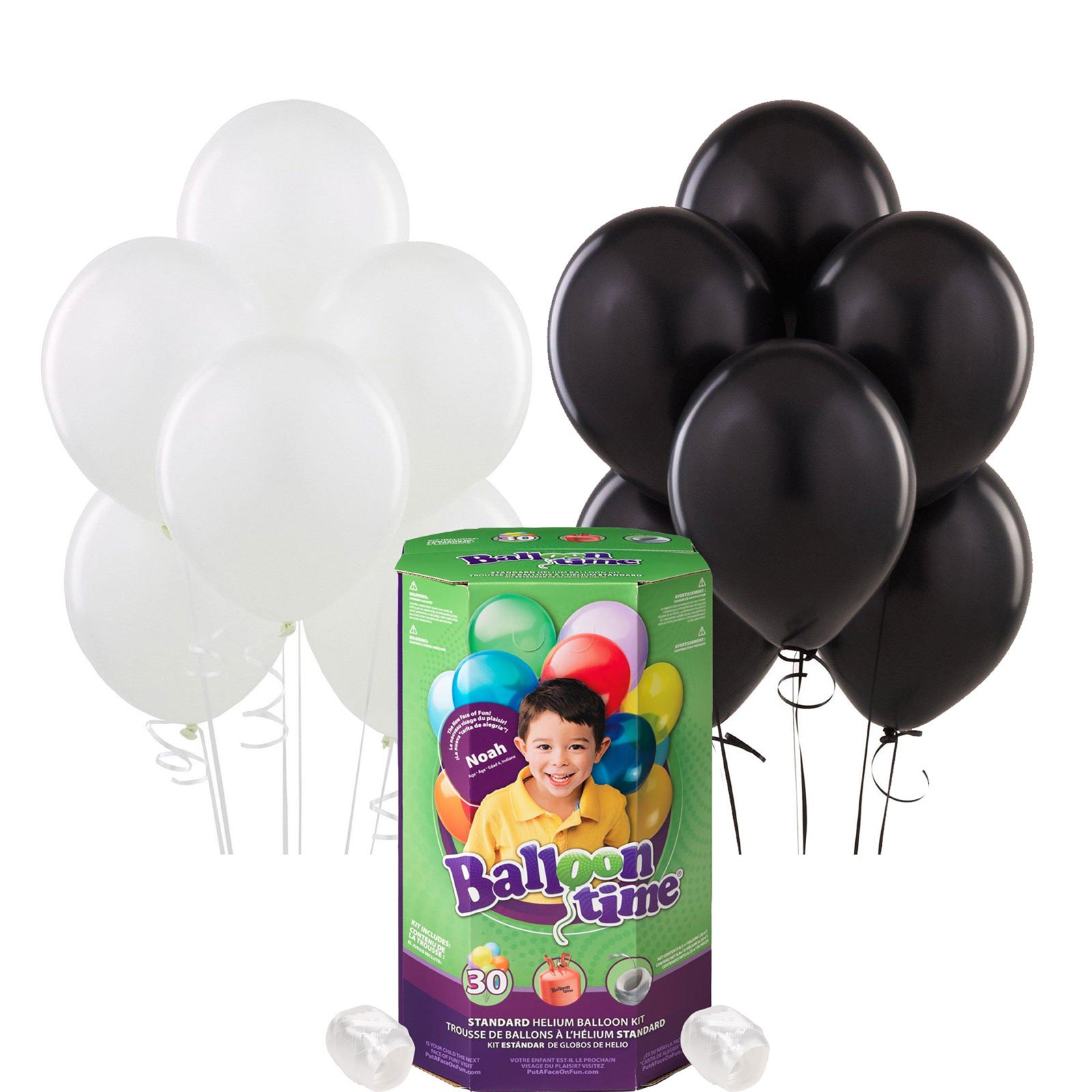 Black and White Party Supplies Latex Balloon Pack with Helium Tank