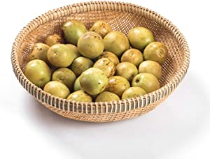 TPCYAN Wicker Baskets,Bamboo Weaving Wicker Baskets, Handmade Home Decoration Storage Fruit Bread Food,for Kitchen Organizer 22cm/26cm/29cm/32cm/35cm/38cm (Size : 26x6cm)