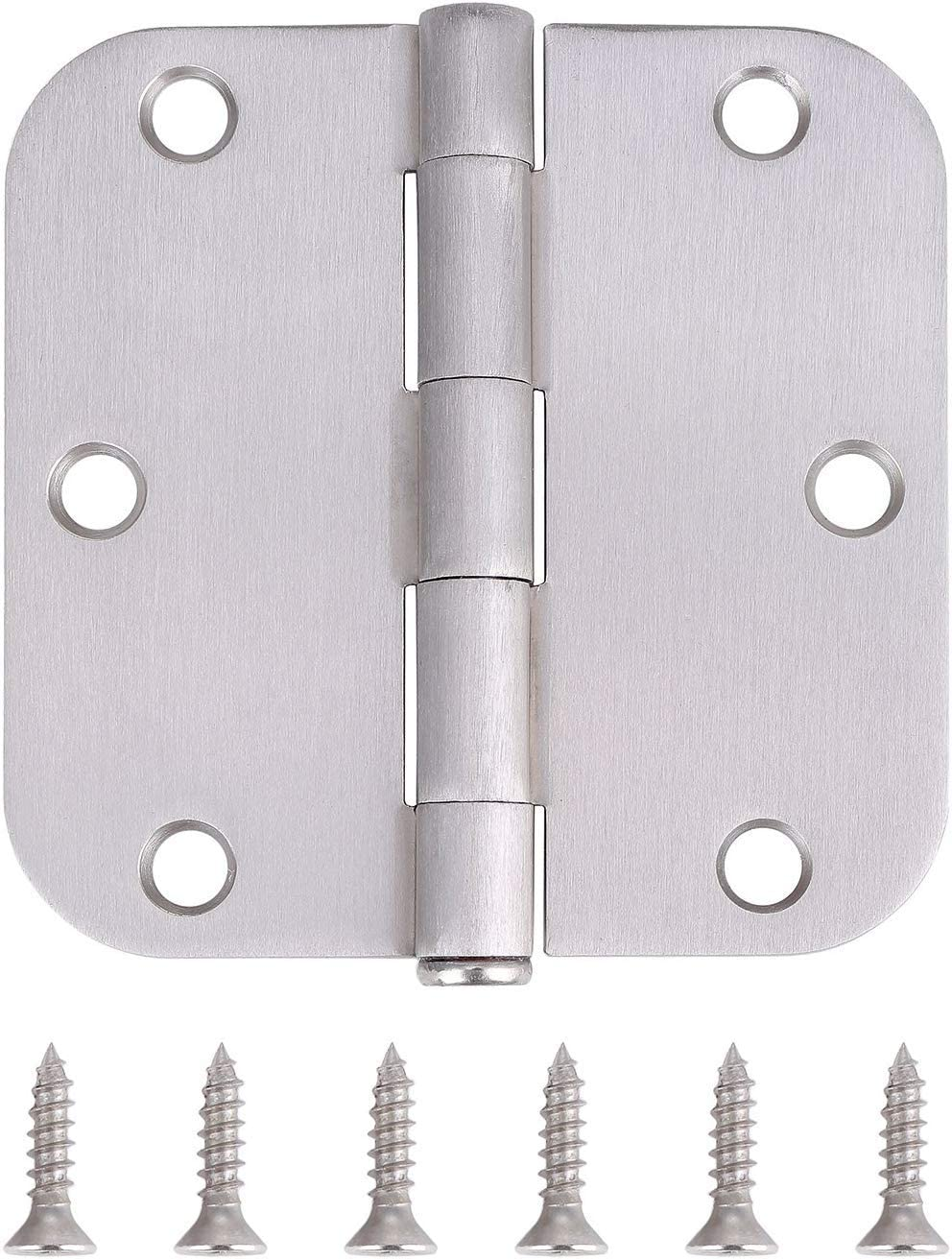 """Pack of 18 Residential Door Hinges - 3.5 Inch - Satin Nickel Finish - 5/8"""" Radius Corner by Dependable Direct"""