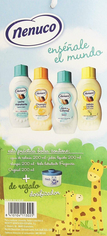 incluye leche hidratante champ/ú Nenuco bolsa de viaje agua de colonia jab/ón l/íquido y dosificador