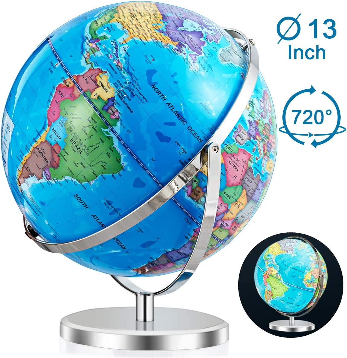 Goplus Desktop World Globe, Educational Geographic World Globe with Stand for Kids and Adults, 720° Rotation Decorative Globe, Easy to Read Labels Over 4000 Locations for Classroom, Office