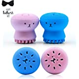Top Rated Silicone Cleansing Brush by Wonash | Exfoliating & Massaging Silicone Facial Brush | Octopus Facial Brush Cleaner for Girls | Deep Pore Cleansing Brush for All Skin Type | Blue & Pink Color