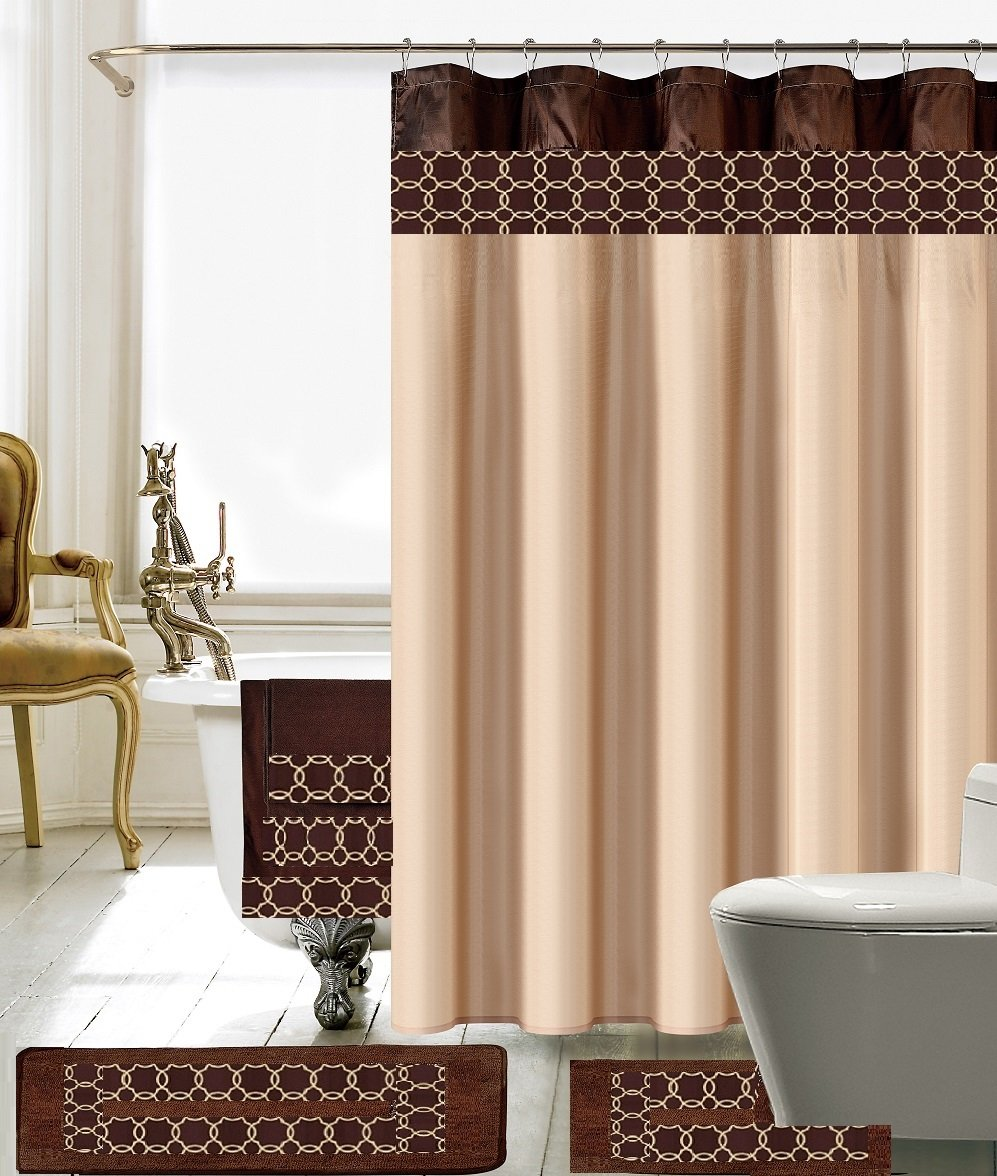 BH Home & Linen 18 Piece Embroidery Banded Shower Curtain Bath Set 1 Bath Mat 1 Contour 1 Shower Curtain 12 Matching Fabric Shower Rings 3 Pcs Matching Towel Set 100% Polyester (C) Brown & Beige