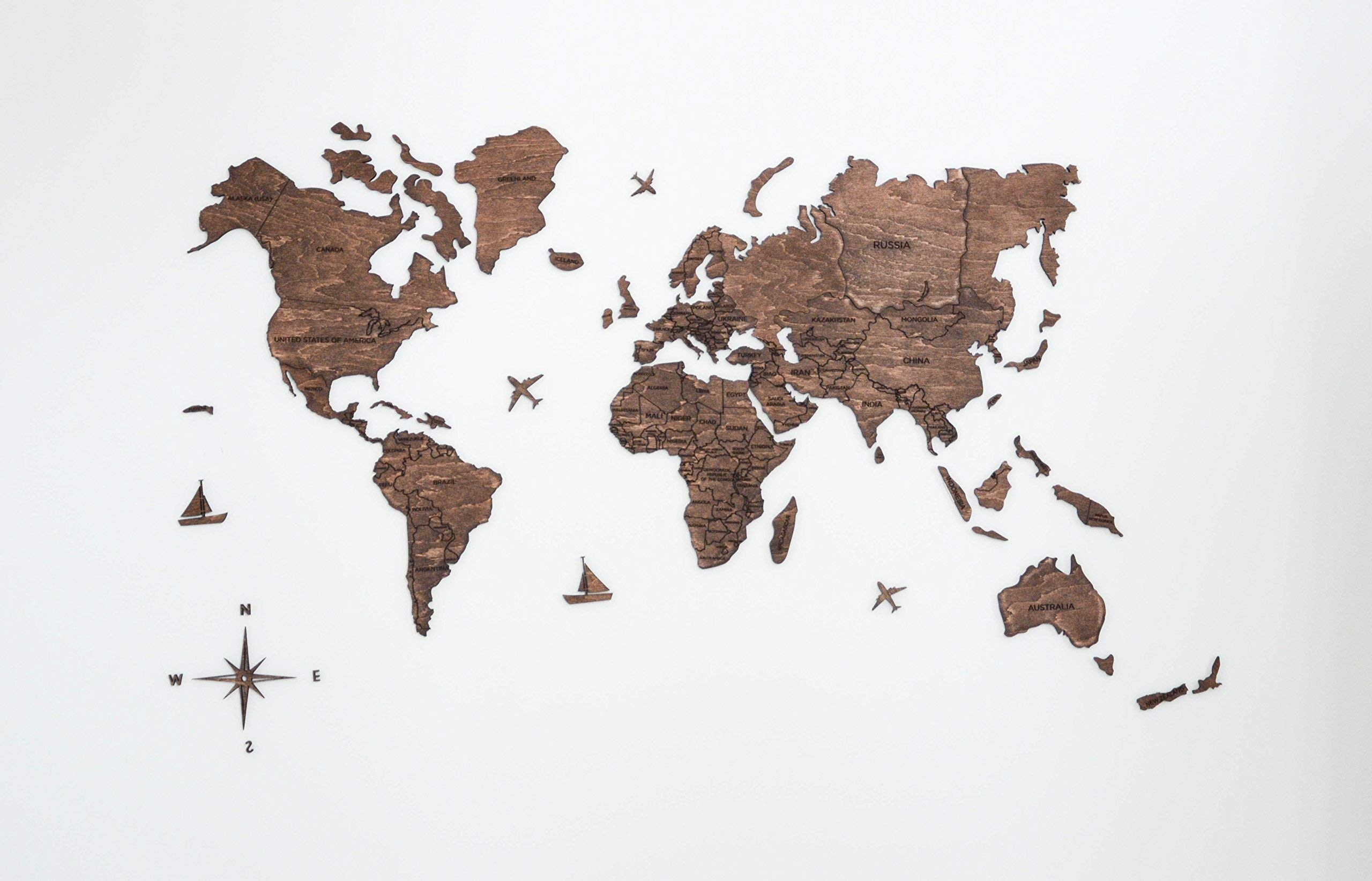 Large World Map of the World Travel map Wall world Cork Rustic Home decor Office decor Wall decor Dorm Living room Interior design Fathers Day Gift - By Enjoy The Wood 100x50cm, 150x90cm, 200x102cm