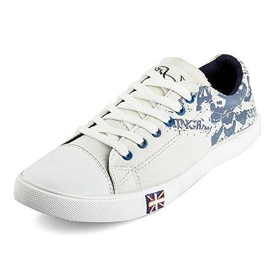T-Rock Men s White Sneakers-7 UK India (40.5 EU) (Whit snekr adi 7 ... 17b89f6e10a8b