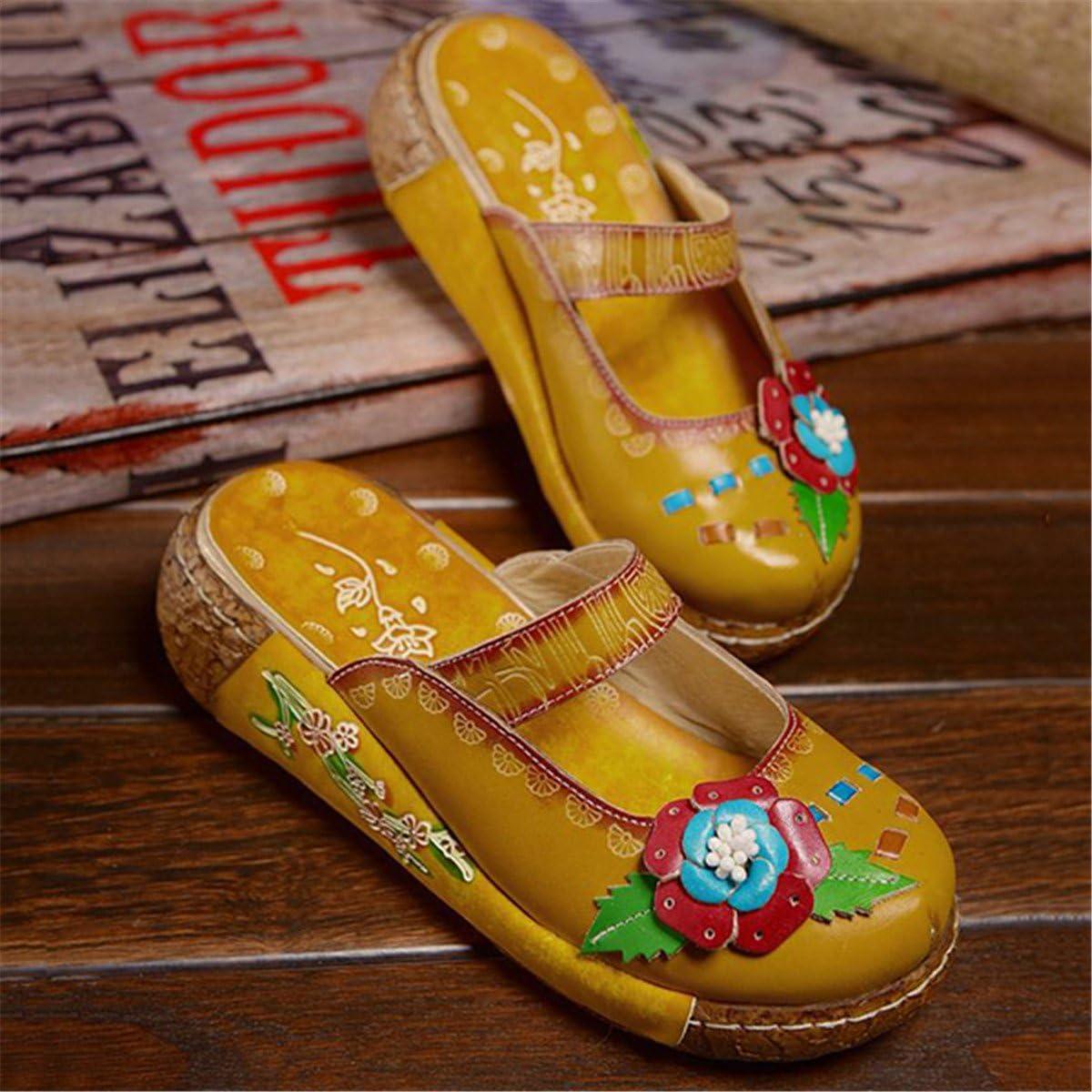 Socofy Sabots Femmes Filles Chaussures /Ét/é Printemps en Cuir Mules avec Fleurs Color/és /à Talons Compens/és Plateformes Clogs Ville pour Jardin Vacances Plage Design Original Confortable