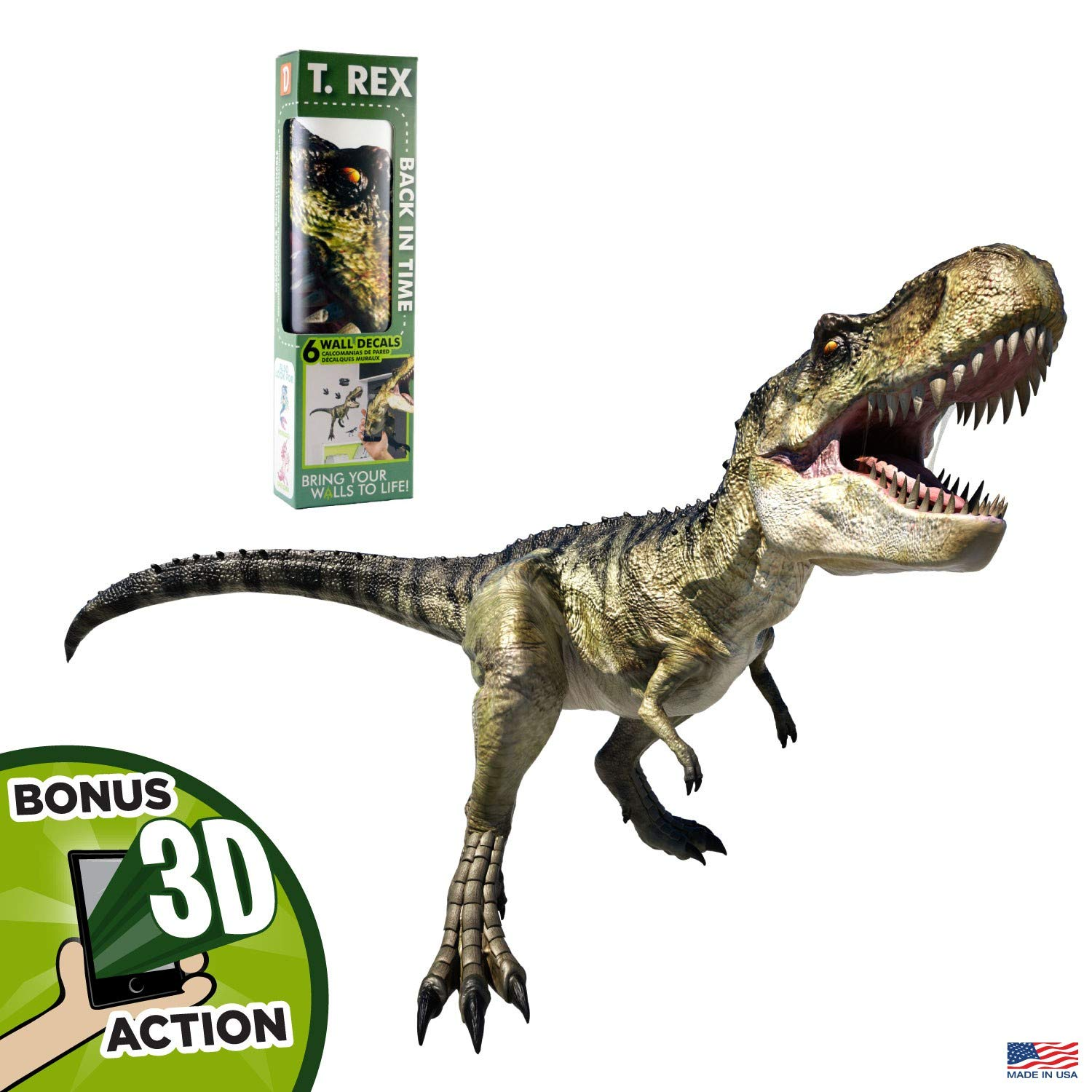 "Tyrannosaurus Rex Dinosaur T-Rex Augmented Reality 33"" Deluxe Wall Decal Peel & Stick Removable Vinyl"