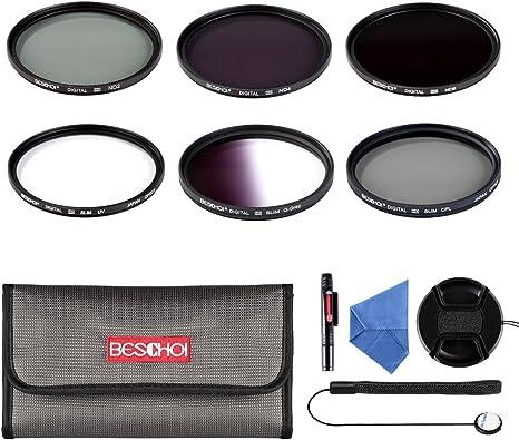 Beschoi - 77mm Lente Filtro, Juego de Filtro Fotográfico para Canon Nikon DSLR Cámaras (11 PCS Incluye UV CPL ND2 ND4 ND8 + Graduado Gris + Accesorios): Amazon.es: Electrónica