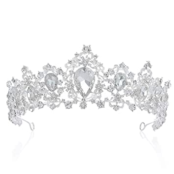 Amazon.com   SNOWH Bridal Queen Tiara Crown Luxury Bling Crystal Wedding  Headband Prom Queen Pageant Princess Crowns Hair Accessories for Women ... f0f34fd94421