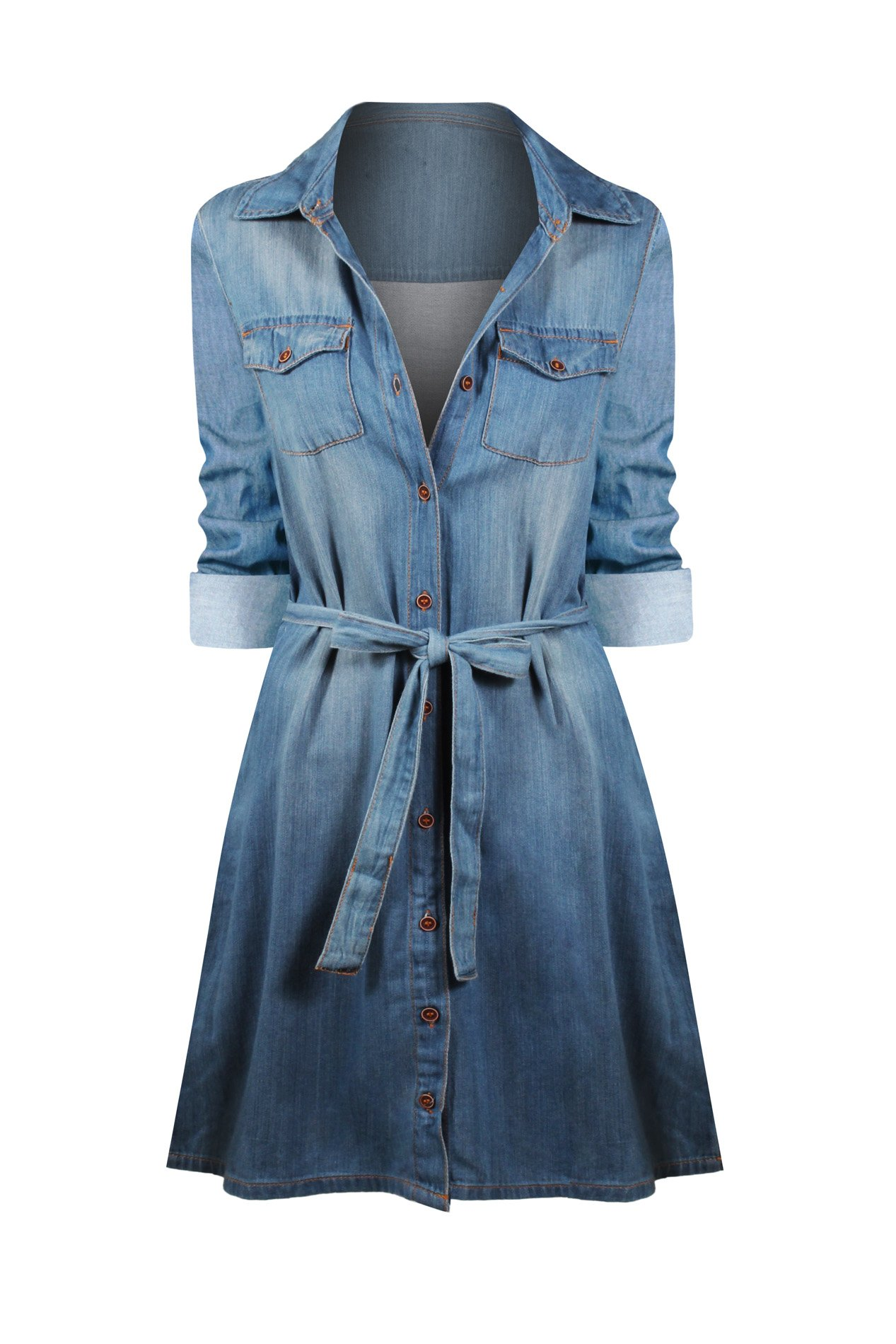 HOT FROM HOLLYWOOD Women's Casual Button Down Cotton Denim Pocket Fitted Dress