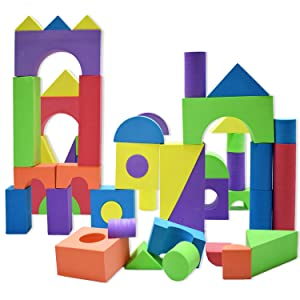 Giant Foam Building Blocks, Building Toy for Girls and Boys, Ideal Blocks/Construction Toys for Toddlers, 50 Pieces Different Shapes & Sizes, Waterproof, Bright Colors, Safe, Non-Toxic.