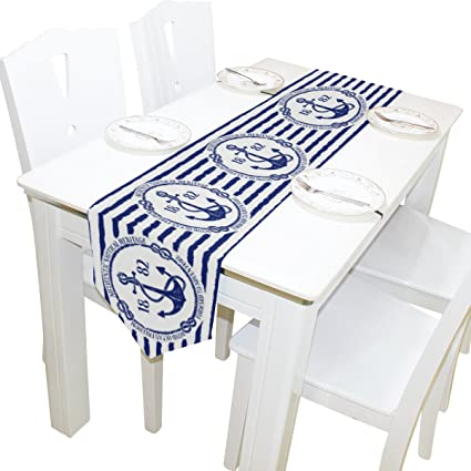 Amazoncom Alaza Table Runner Home Decor Stylish Blue White