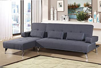 Modern Fabric Corner Sofa Bed With Lounger Chaise: Amazon.co.uk ...