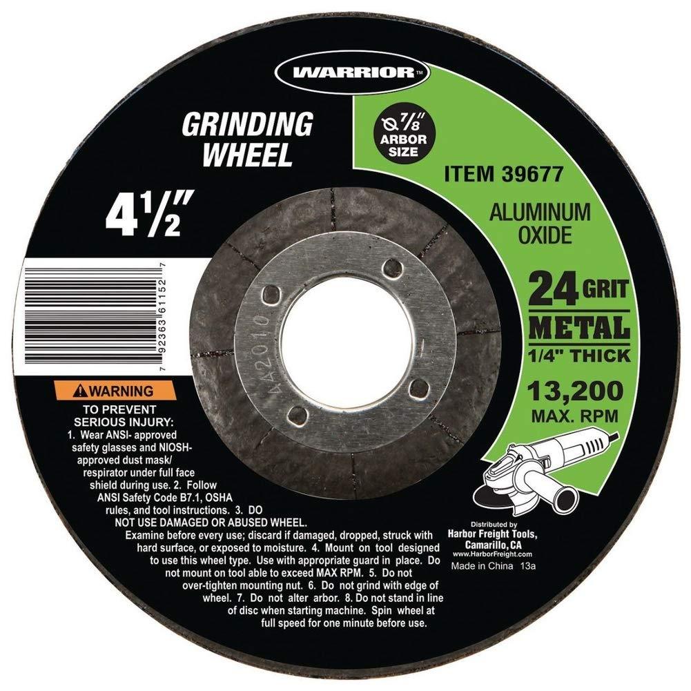 24 Grit Metal Grinding Wheel Warrior 4-1//2 in