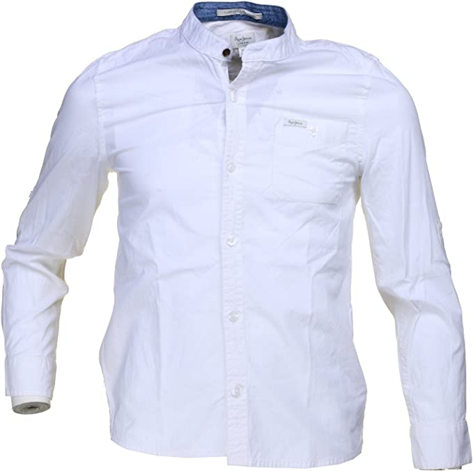 PEPE JEANS - Camisa de manga larga cuello Mao, Sebastian, chico, Blanco (16): Amazon.es: Ropa y accesorios