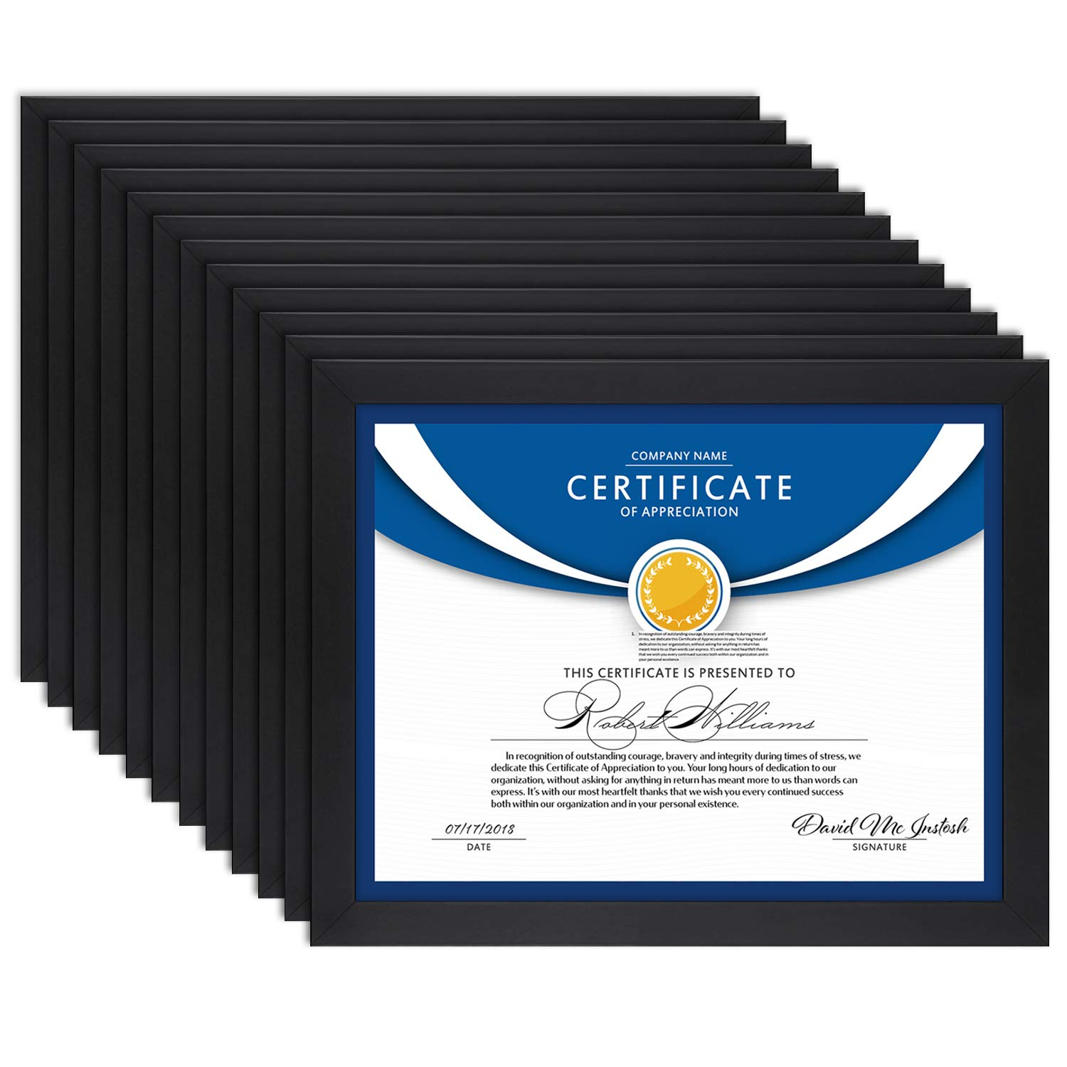 Icona Bay 8.5x11 Diploma Frame (12 Pack, Black), Black Sturdy Wood Composite Certificate Frame, Document Frame Bulk, Wall or Table Mount, Set of 12 Exclusives Collection by Icona Bay (Image #1)