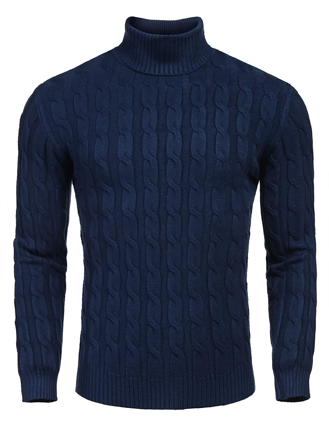 L'Amore Coofandy Mens Turtleneck Knitted Jumper Long Sleeve Casual Top Cable Knit Sweater