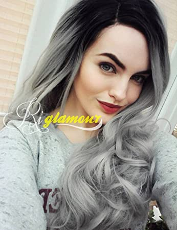 Riglamour Silver Gray Hair Wig Dark Roots Ombre Half Hand Tied Lace