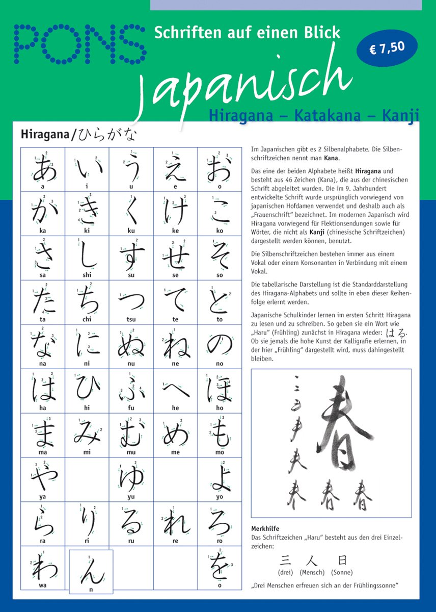 Pons Schriften Auf Einen Blick Japanisch Hiragana Katakana Kanji 9783125612297 Amazon Com Books