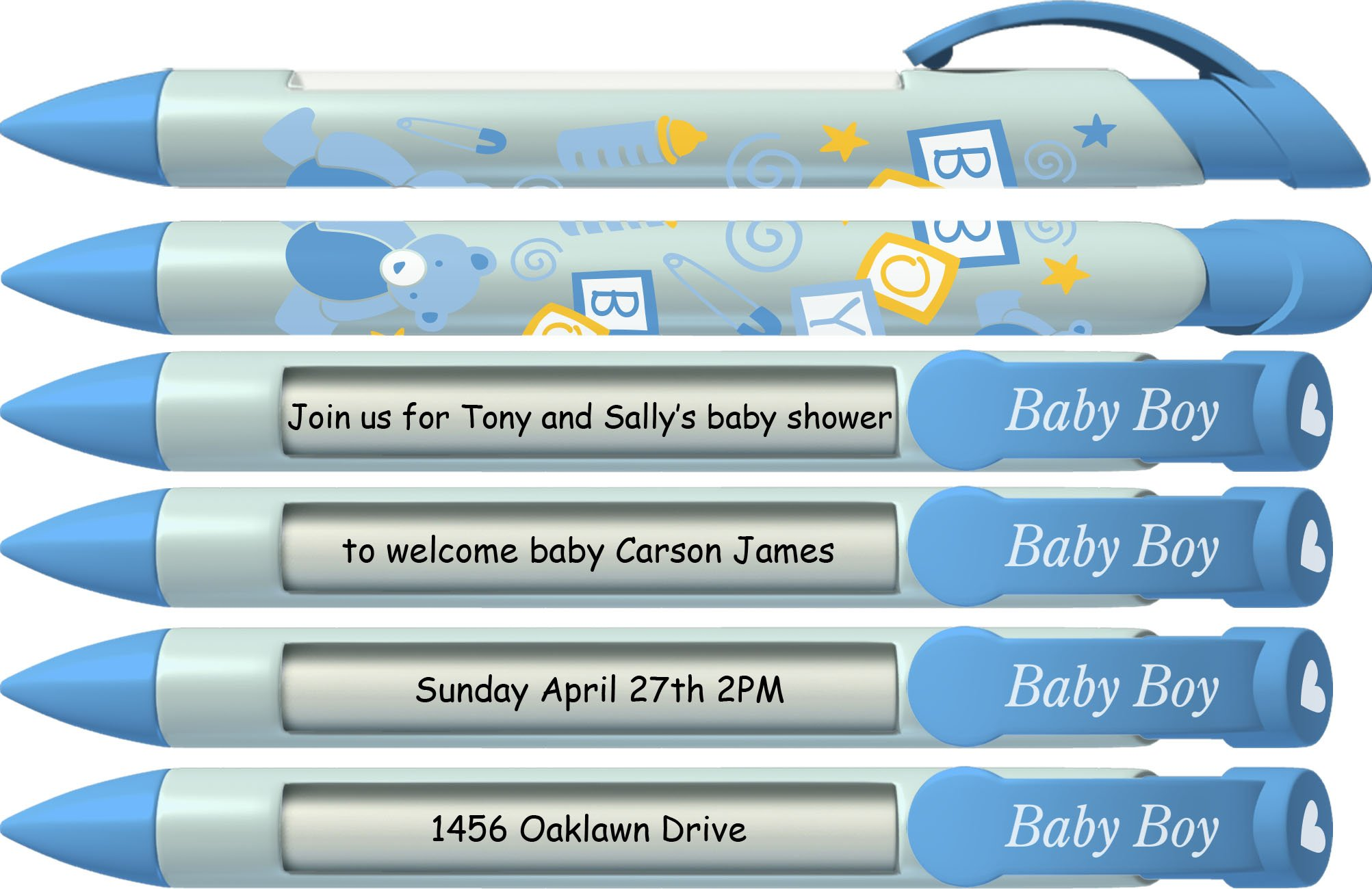 Baby Pen by Greeting Pen- Personalized Baby Shower Favor / Invitation and Birth Annoucement Pens - Baby Boy Blocks Rotating Message Pen 50 pack (P-BP-21-50) by Greeting Pen (Image #3)