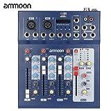 ammoon F4-USB 3 Canaux Mic Ligne Numérique de Mixage Audio Mixer Console avec 48V Alimentation Fantôme pour l'enregistrement DJ Scène Karaoke Musique Appreciation