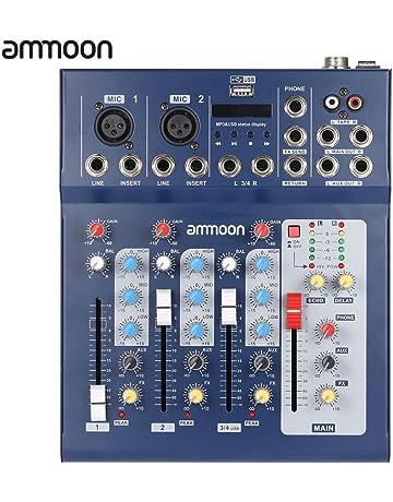 ammoon Audio de Mezcla Mezclador Consola F4-USB 3 Canales Digitales de Micrófono de Línea