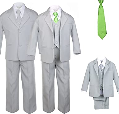 Unotux 6pc Boy Gray Vest Set Suits with Satin Ivory Necktie Outfits Baby to Teen
