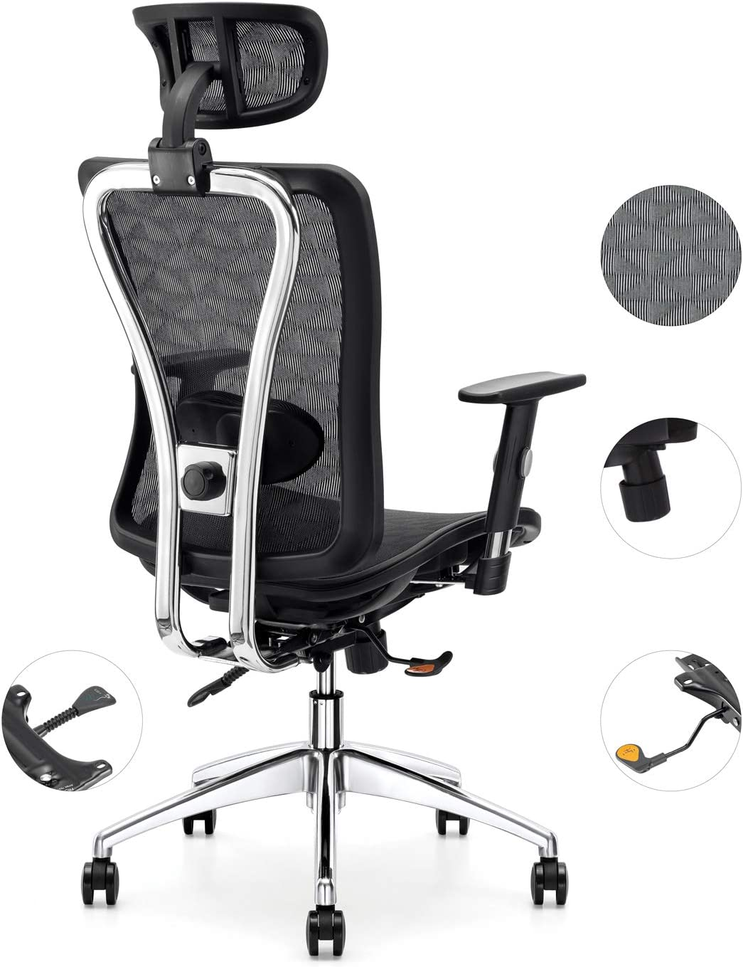 Amazon Com Cedric Office Chair Breathable Mesh Computer Chair With Ergonomic Adjustable Lumbar Support Black Swivel Desk Chair With Adjustable Armrest And Headrest Mesh Seat Bifma Certification No 5 1 Furniture Decor