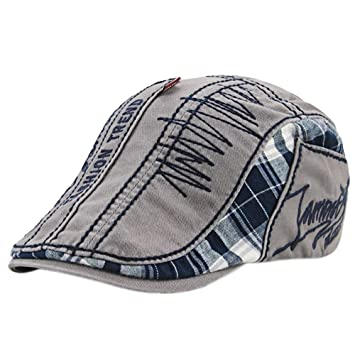 6a7ff18c477 Amazon.com   Unisex Retro Alphabet Embroidery Stitching Lattice Sun Berets  Duckbill Cap Hat for Daily Wear Beach Hiking Camping Traveling Gray   Beauty
