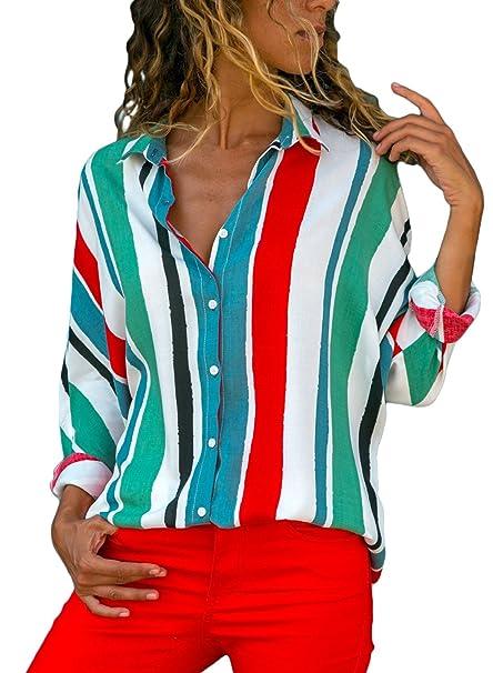 1ee8cbee80db Aleumdr Mujer Blusa Cuello En V Camiseta de Mangas Largas Camisa con  Botones Size S-XXL