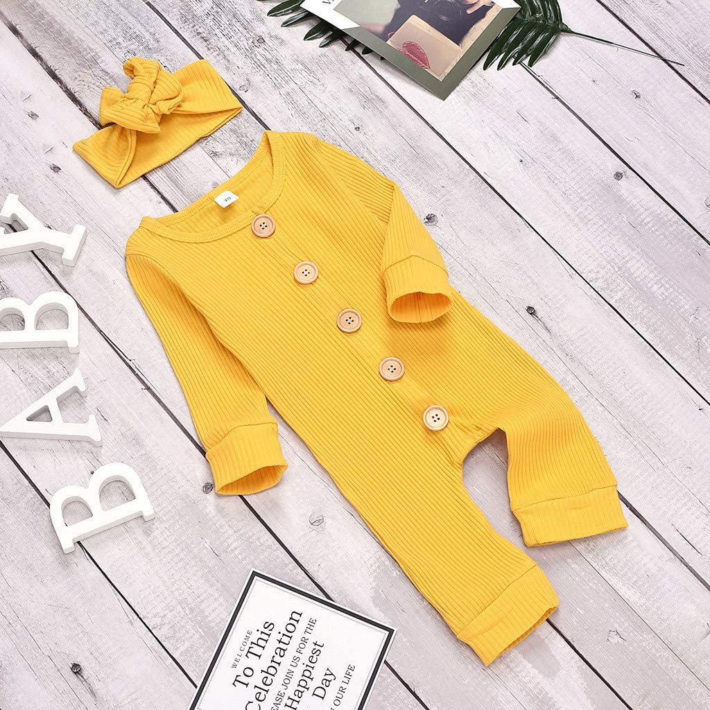 LuckyBB Newborn Infant Baby Girls Boys Cozy Solid Button Romper Jumpsuit Clothes Headband