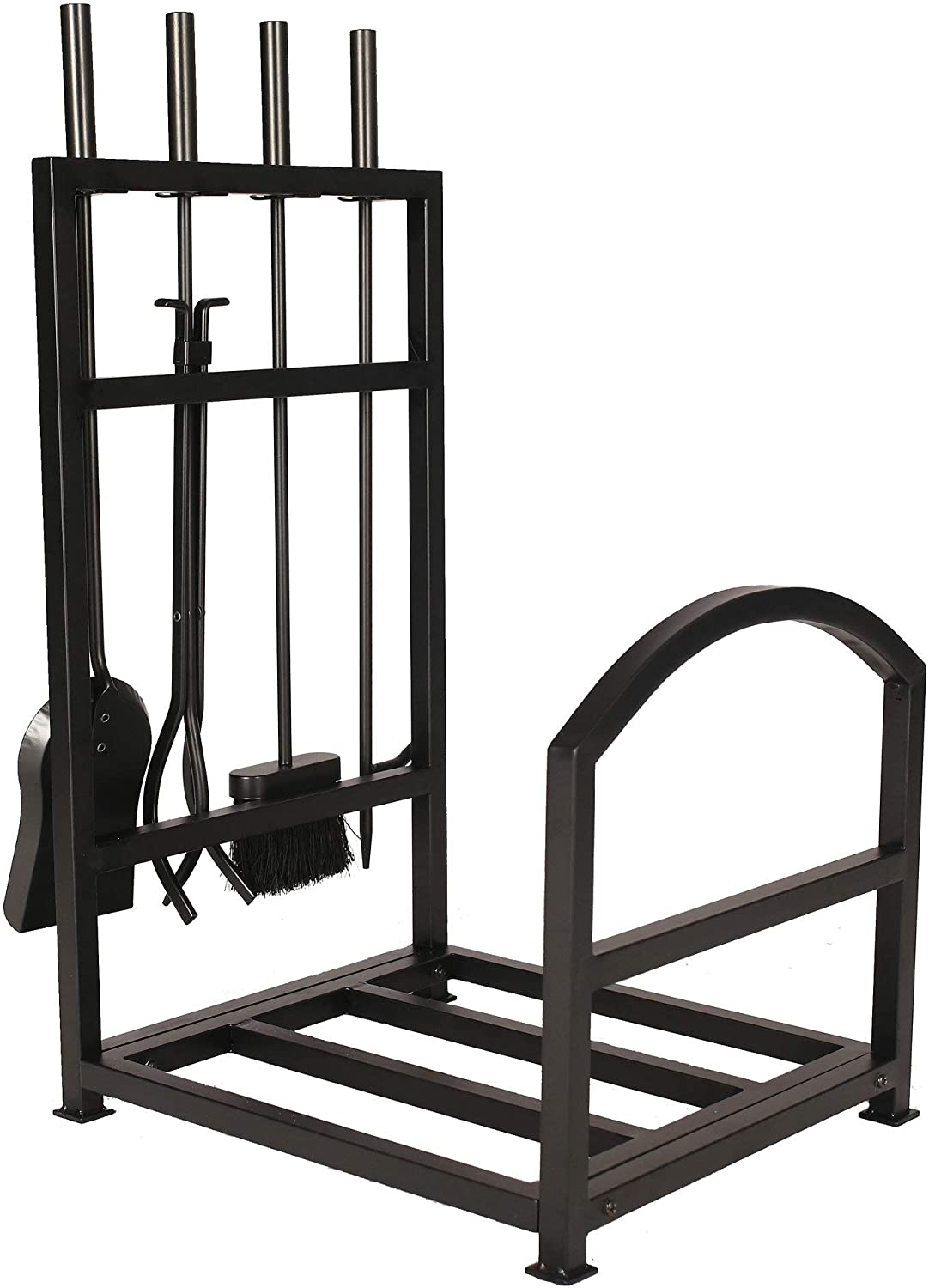 "1. GO Iron Firewood Log Rack with Fireplace Tool Set, 15""(W) X 17.5""(D) X 28.5""(H) 71cUtSiiUcL"