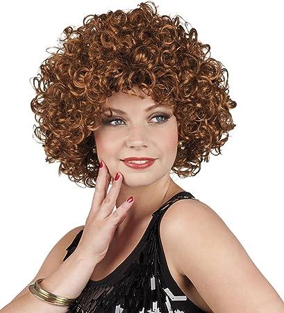 SMIFFYS Smiffys Parrucca da ragazza ribelle anni 80 Marrone Riccia con fiocco Donna Taglia unica castana 22141