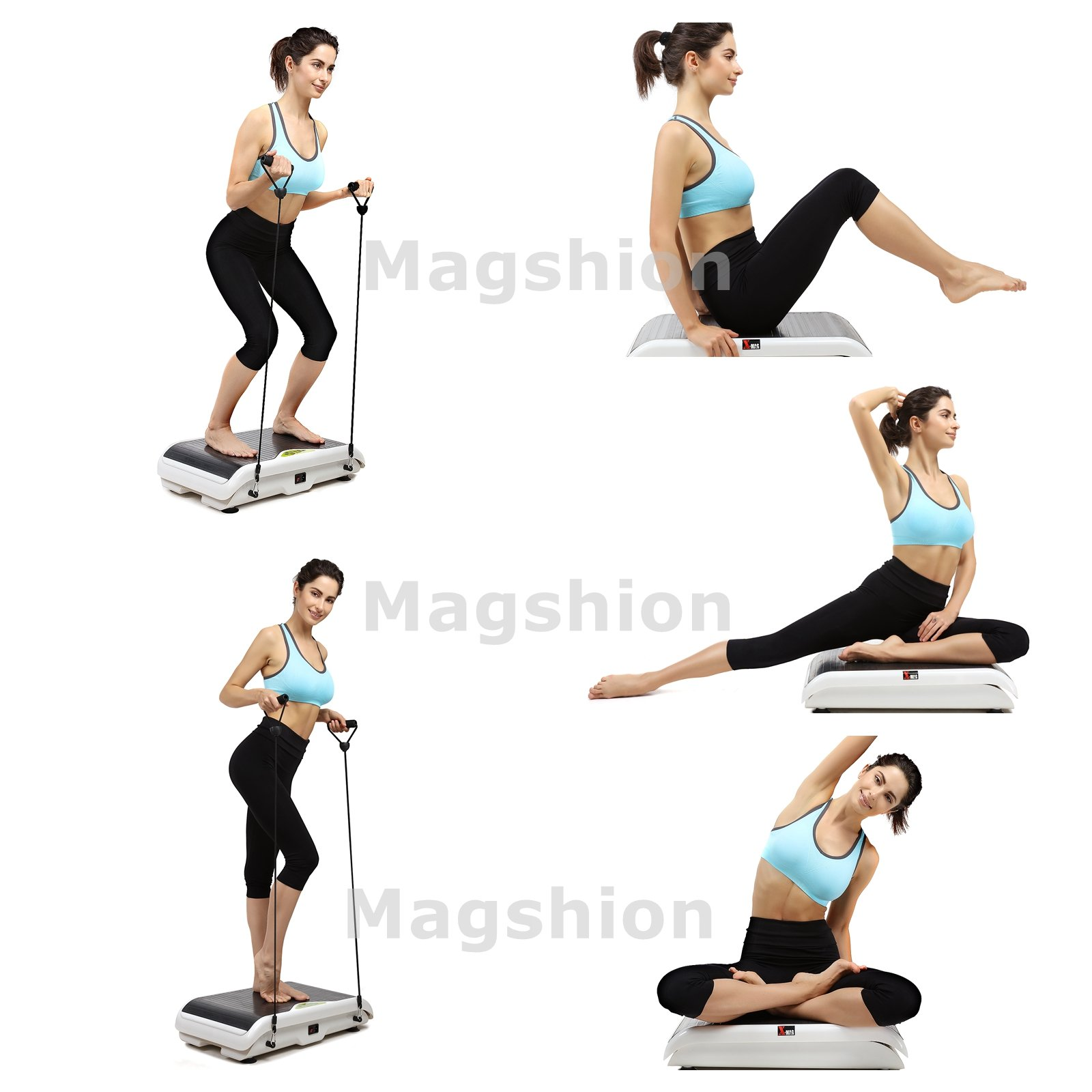 X-MAG Portable Whole Body Vibration Fitness Trainer Platform Machine with Straps, White by X-MAG (Image #7)