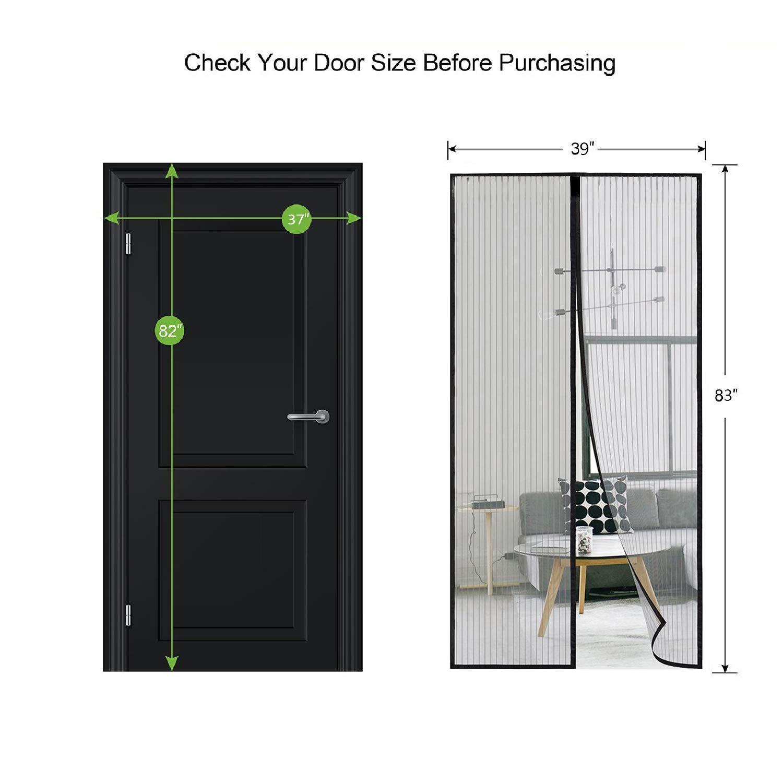 Magnetic Screen Door Heavy Duty Mesh Curtain Fits Door Size 37 X 82