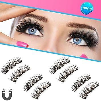 0bf9d477298 Dopoo Natural Fake Magnetic Eyelashes, 3D Three Magnets Ultra Thin Soft,  Glamorous, Natural
