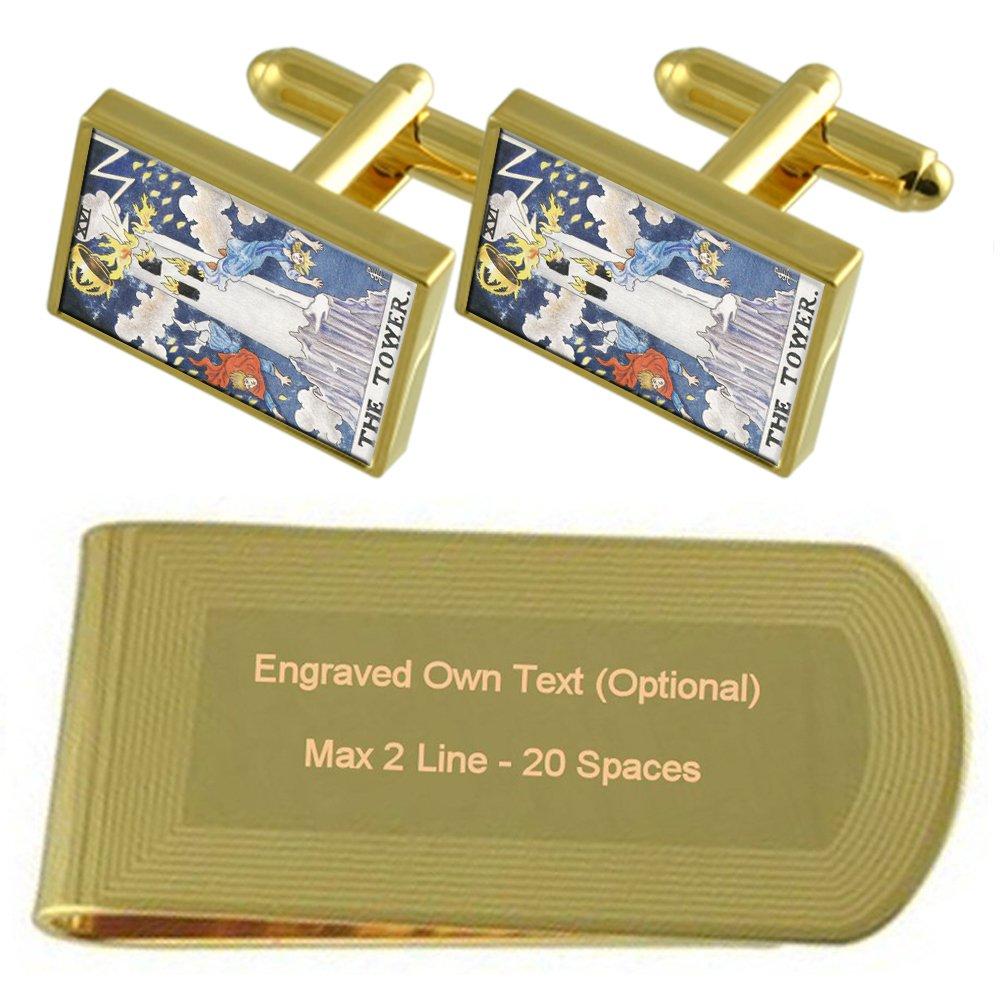 Tarot Tower Card Gold-tone Cufflinks Money Clip Engraved Gift Set
