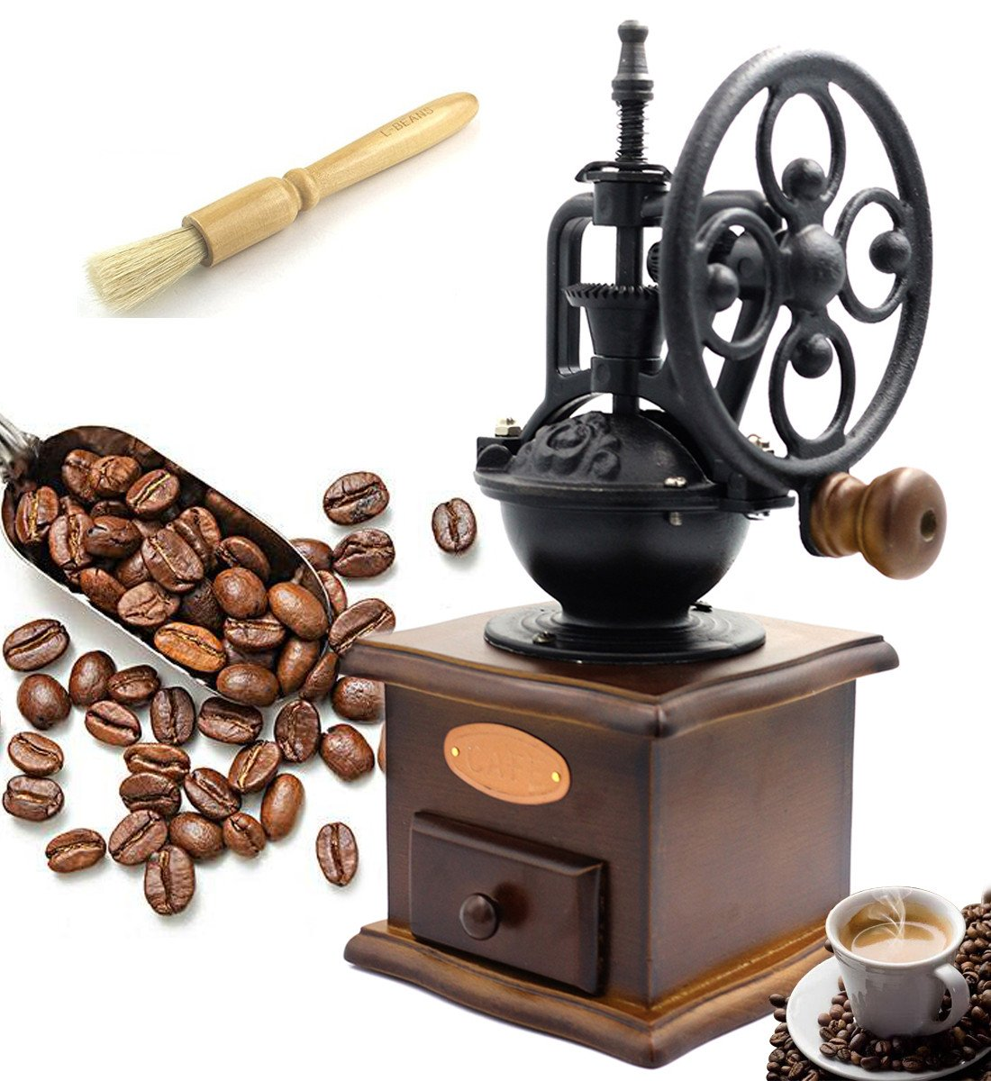 Fecihor Manual Coffee Grinder With Grind Settings and Catch Drawer - Classic Vintage Style Manual Hand Grinder Coffee Mill by Fecihor