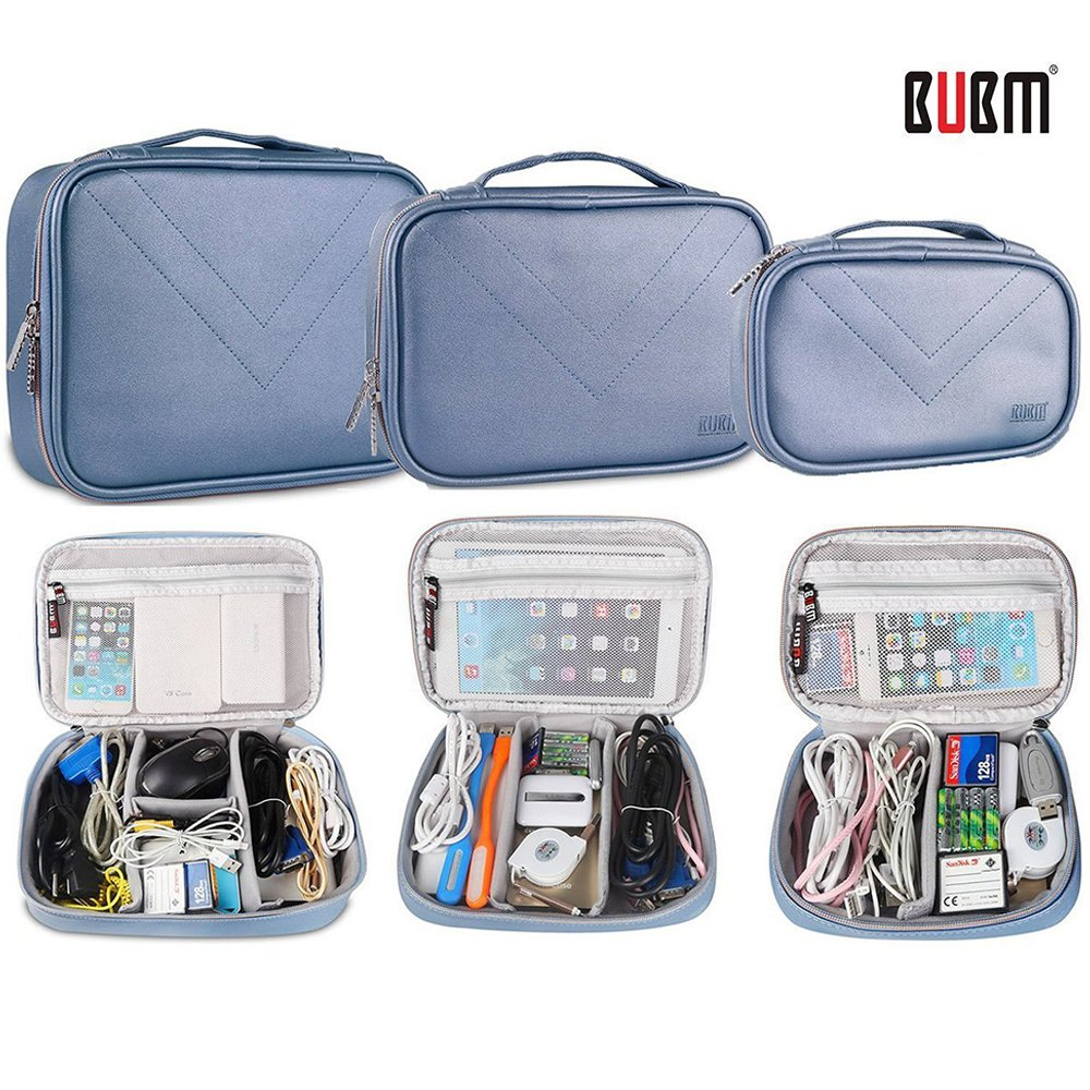BUBM Travel Electronics Organizer 3pcs Set, Gadget Storage Bag for Cables,iPad,External Hard Drive,Chargers and Cords,Power Bank,Camera Accessories,PU Leather Makeup Organizer Box (Blue) by BUBM