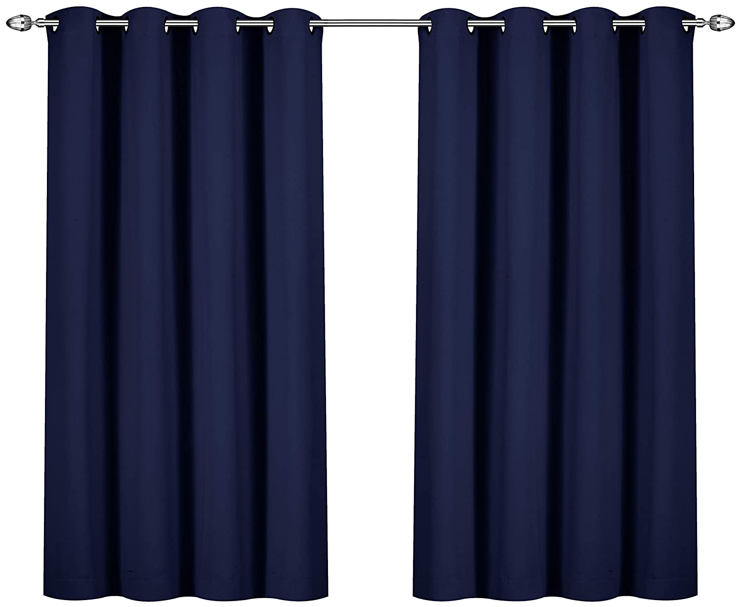 Utopia Bedding Blackout Room Darkening and Thermal Insulating Window Curtains/Panels/Drapes - 2 Panels Set - 8 Grommets per Panel - 2 Tie Backs Included (Beige, 52 x 63 with Grommets) UB0109