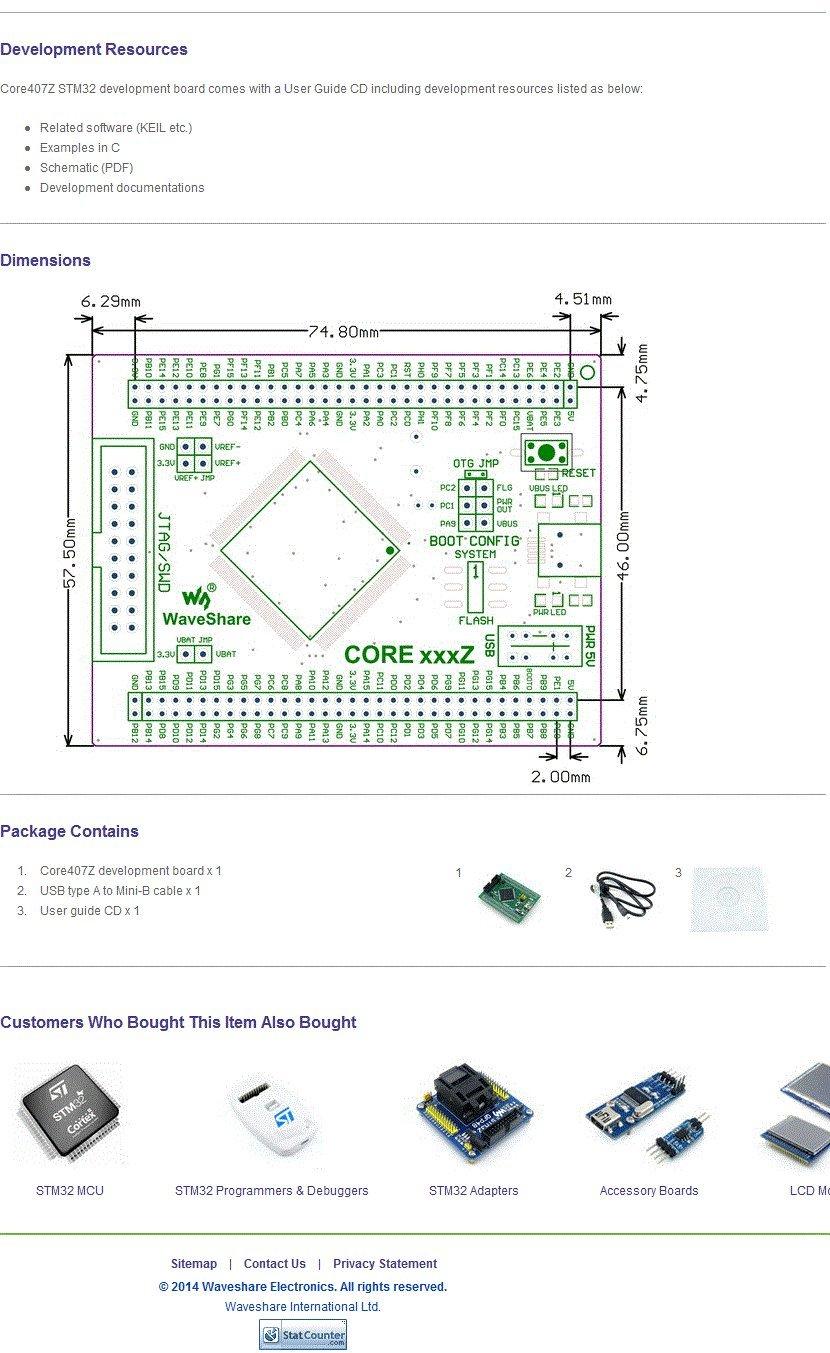 Waveshare STM32 Core Board STM32F407ZxT6 STM32F407 ARM Cortex-M4 STM32 Development Board Kit Full Ios