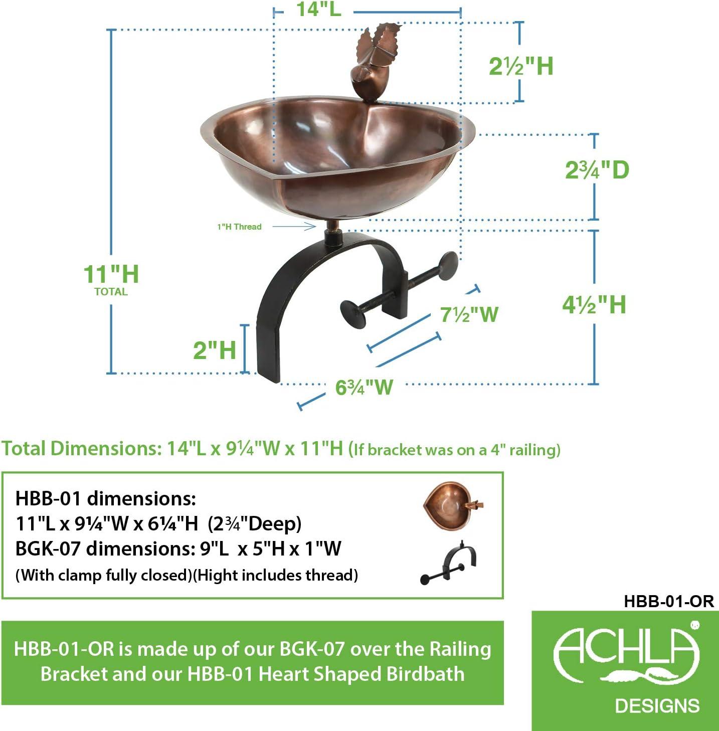 Black Achla Designs HBB-01-OR Heart Shaped Birdbath with Railing Bracket Copper
