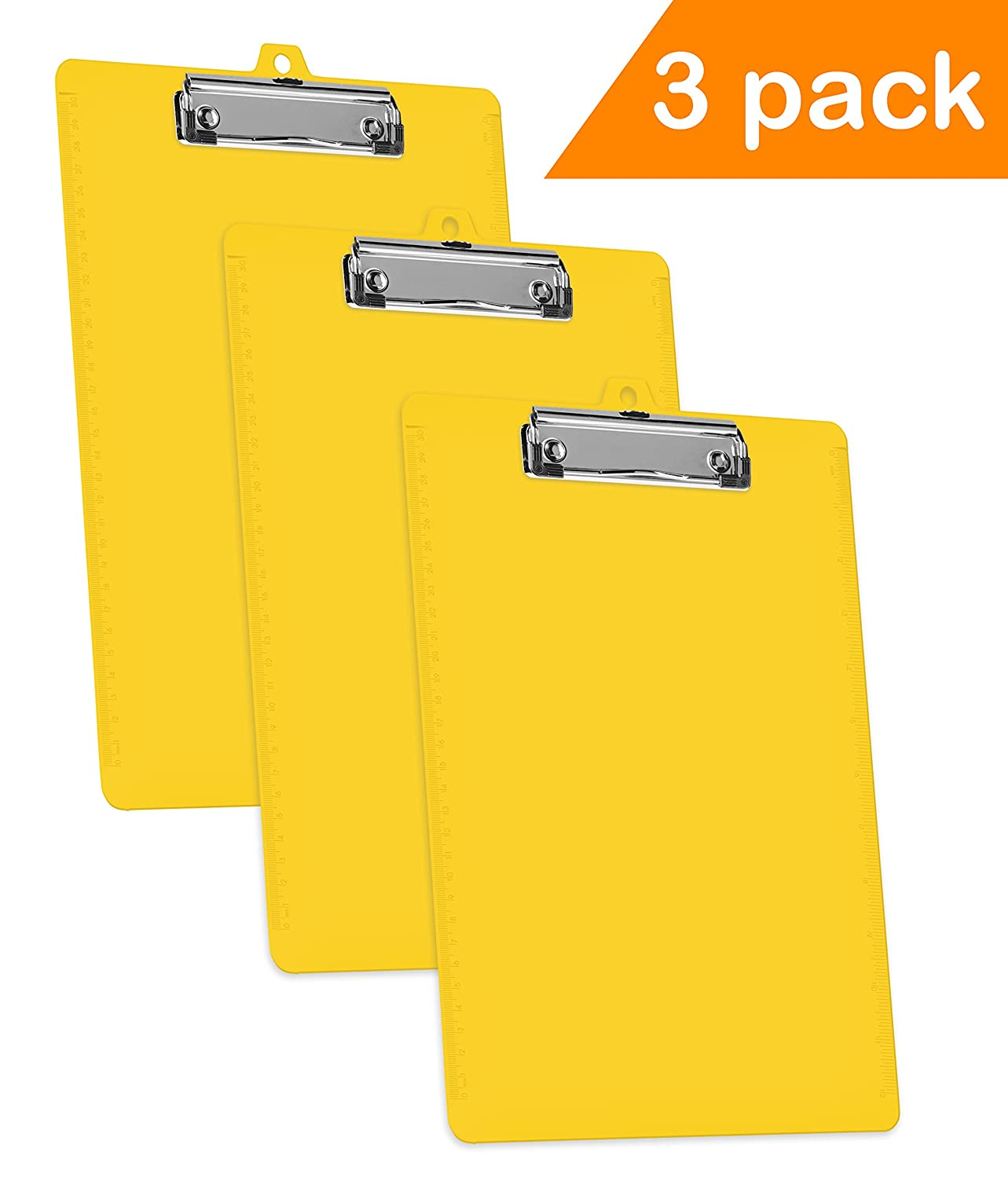 Acrimet Clipboard Low Profile Clip Letter Size A4 (Yellow Color) (3 Pack) 134.A.C