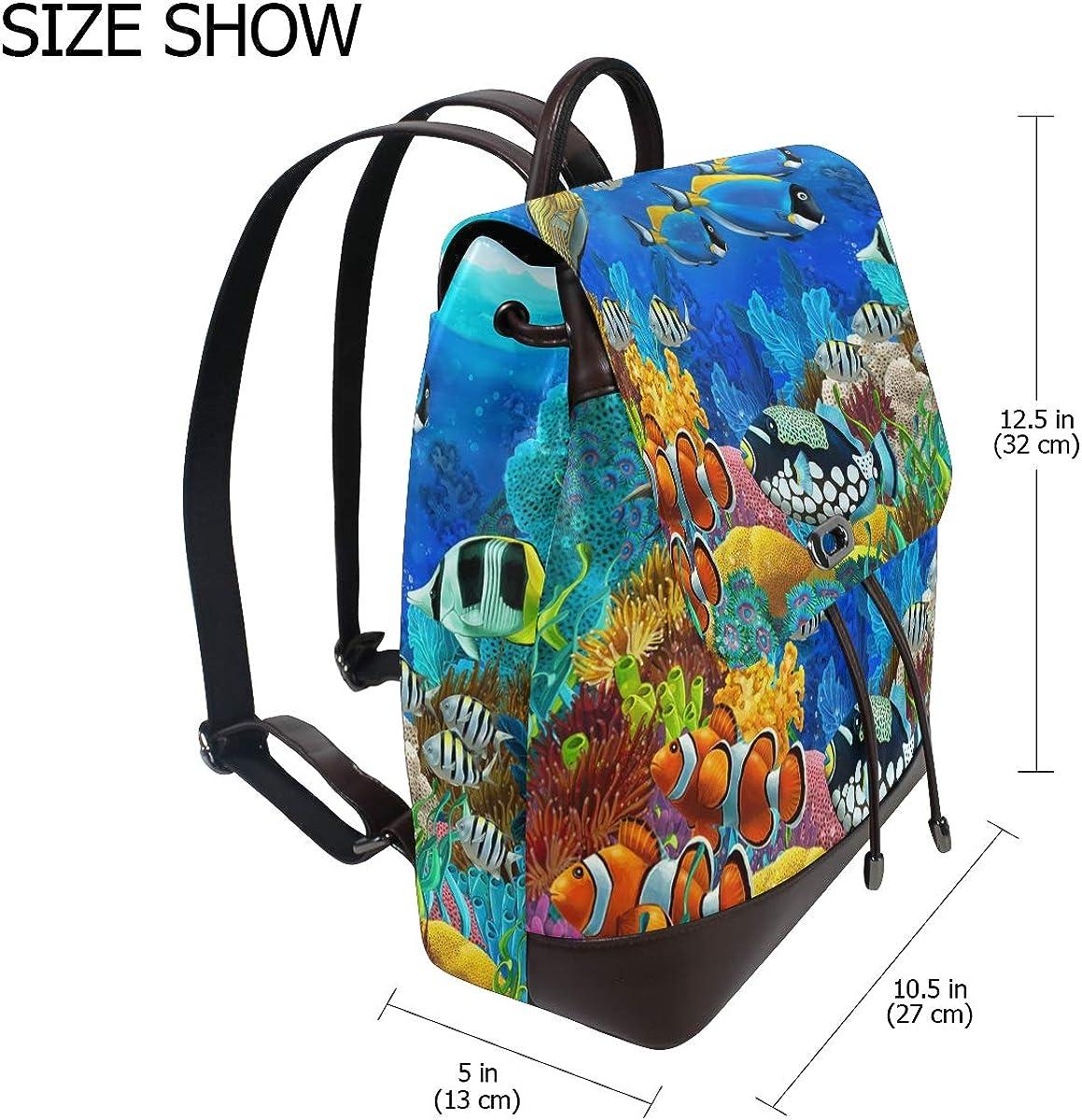 KEAKIA Women PU Leather Fish Animals Backpack Purse Travel School Shoulder Bag Casual Daypack
