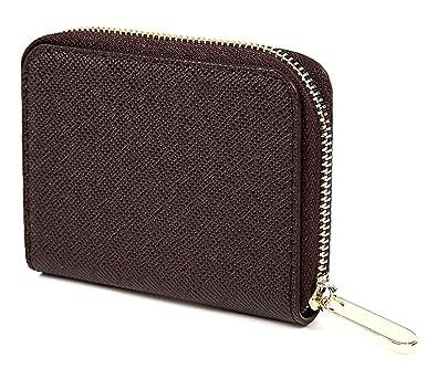 96bb9f04ba5c Amazon | 【LOUJO】 3色 本革 ミニ 財布 カードケース 小銭入れ 角シボ型押し ラウンドファスナー 手のひらサイズ レディース メンズ  (ブラウン) | LJ LOUJO | 財布