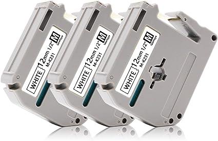 1//2 x 26.2,12mm x 8m Labelwell 3x Compatibile Brother MK231 M-K231 M231SBZ Nero su Bianco Nastri Etichette con Brother P touch PT-90 PT-M95 PT-80 PT-100 PT-110 65 70 85 BB4 Etichettatrice