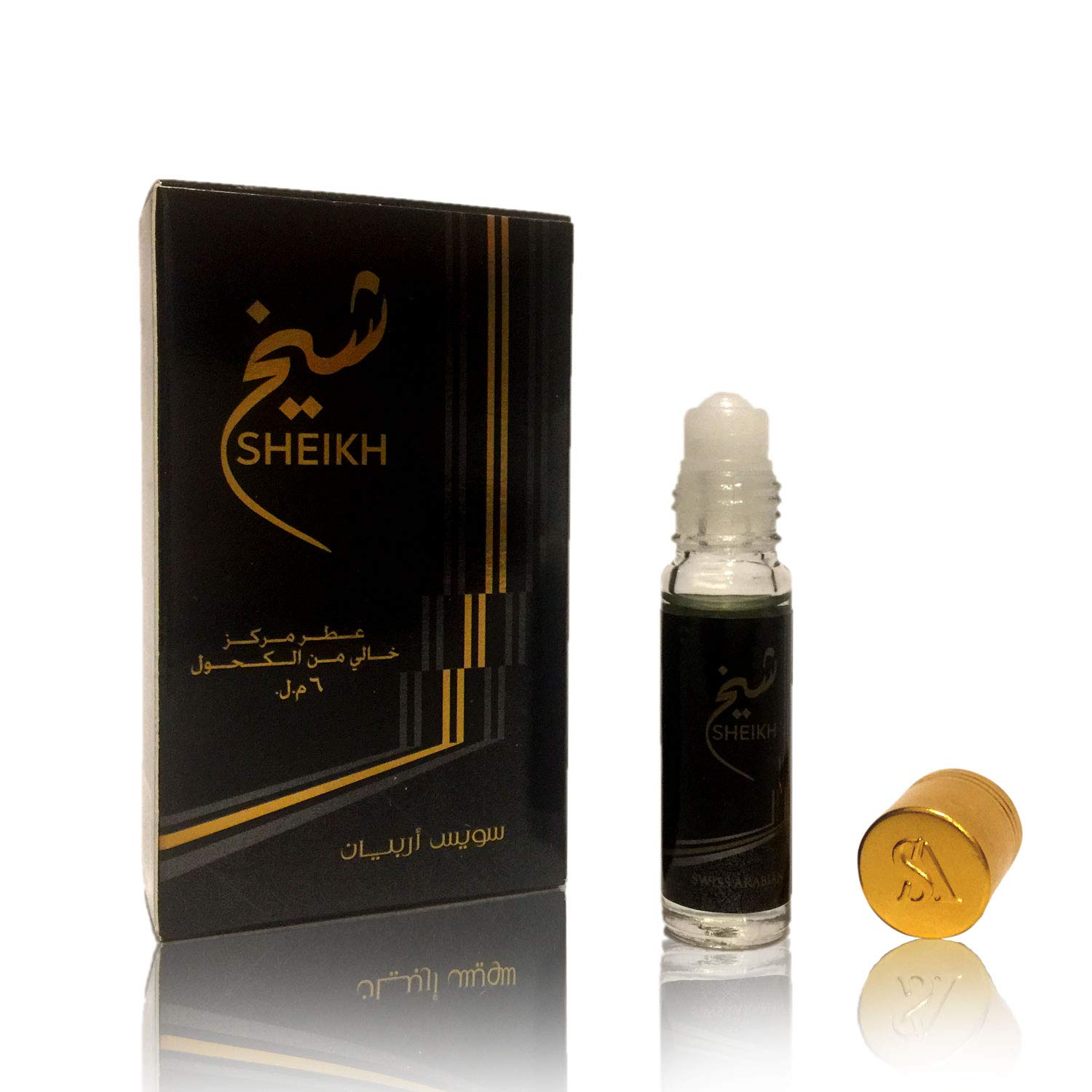 SHEIKH, Roll On Perfume Oil 6 mL (.2 oz) | Oriental Fragrance for Men and Women | Musk, Woody, Aquatic and Citrus Notes | Alcohol Free Attar, Vegan Parfum | by Oudh Artisan Swiss Arabian