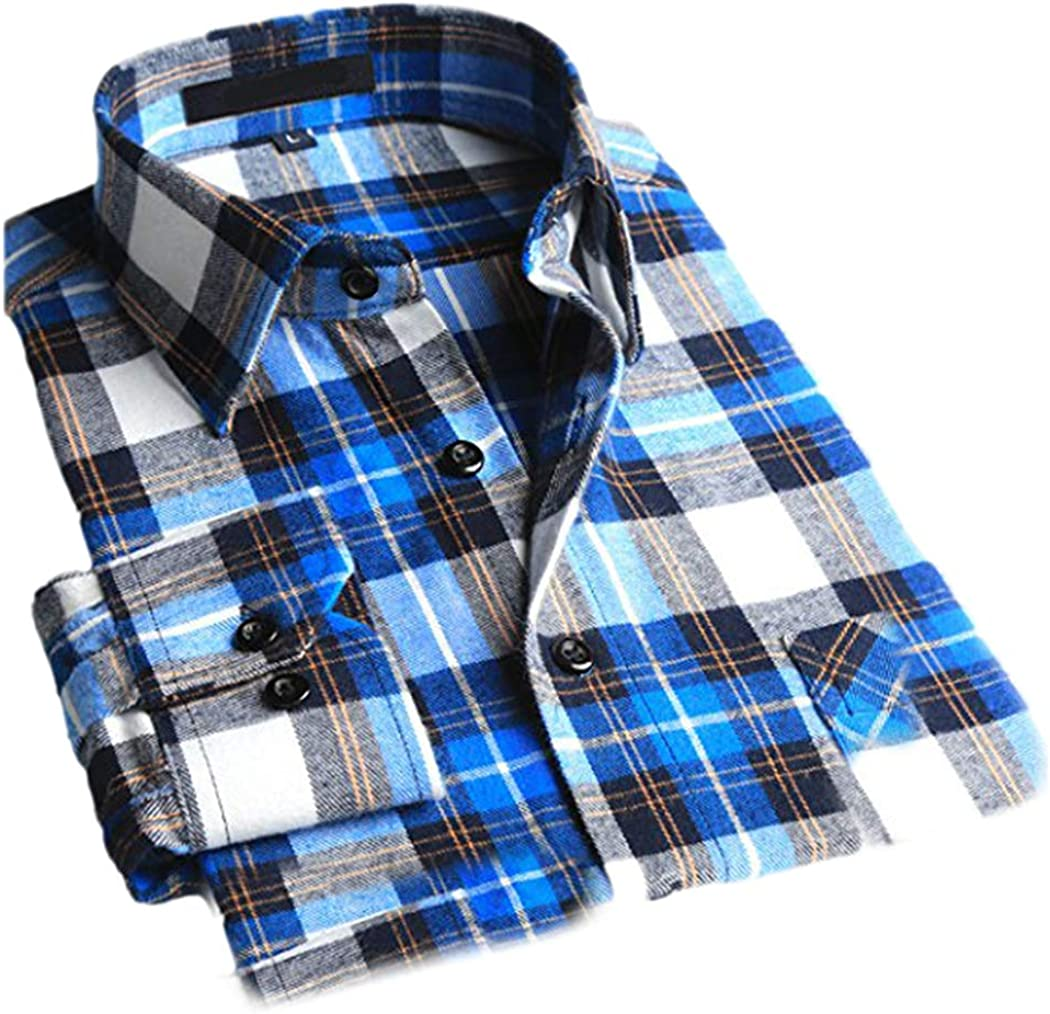 CATERTO Mens Button Down Long Sleeve Plaid Flannel Shirt